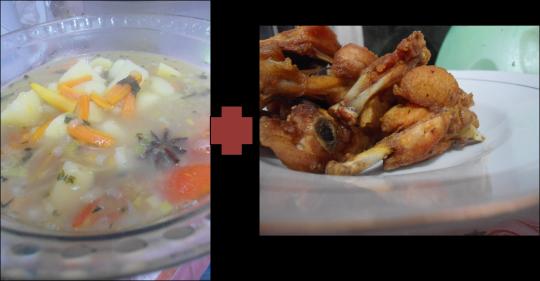 2. sup dan ayam goreng